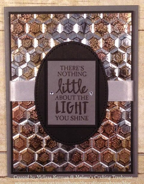 DIY, handmade card using the Hexagons Embossing Folder and High Tide Stamp Set in the Occasions Catalog that goes live 1/4/17. Made with the Impressions of Tarnished Foil Technique.