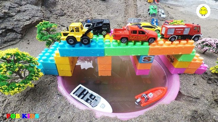 Excavator and rescue trucks video for kids, car toys video for children