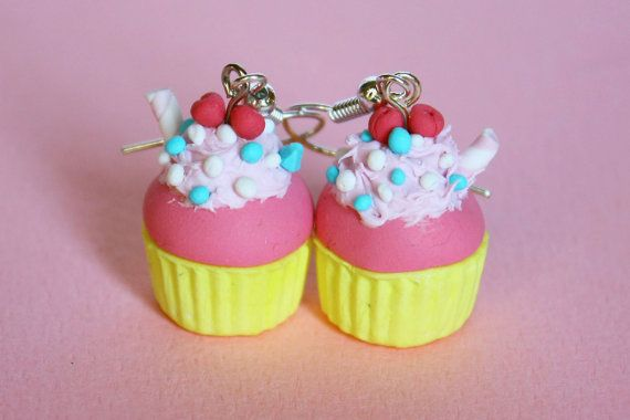 Pop cupcake earrings strawberry and banana flavored by TinkyPinky
