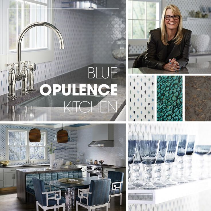 Discover how Julia Buckingham created a traditional kitchen that mixes metals and patterns. This blue and white kitchen features a deep single-basin sink and bridge faucet.