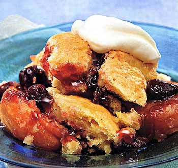 Cherry and Apricot Cobbler. Great way to use up all the seasonal fresh fruit we received in our CSA bag this week!