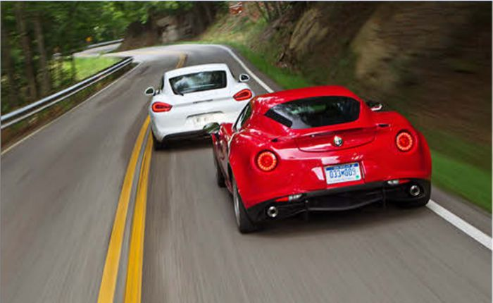 PORSCHE CAYMAN vs ALFA ROMEO 4C The Cayman is the sports car that Dr. Porsche and his son first dreamed of building in 1939; two seats under a sleek roof, with the engine in the middle and the suspension cinched tight. In case you slept through physics class, a mid-engine layout enhances acceleration, braking, and handling dynamics with optimum tire loading and a low polar moment of inertia