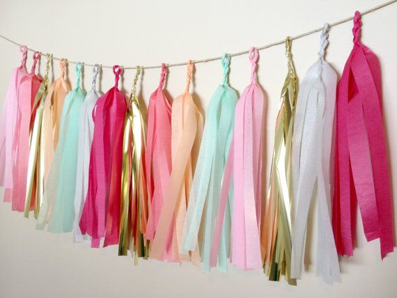Blushing Pastels Tissue Paper Tassel Garland  - Party - Wedding - Baby Shower - Nursery on Etsy, $25.00