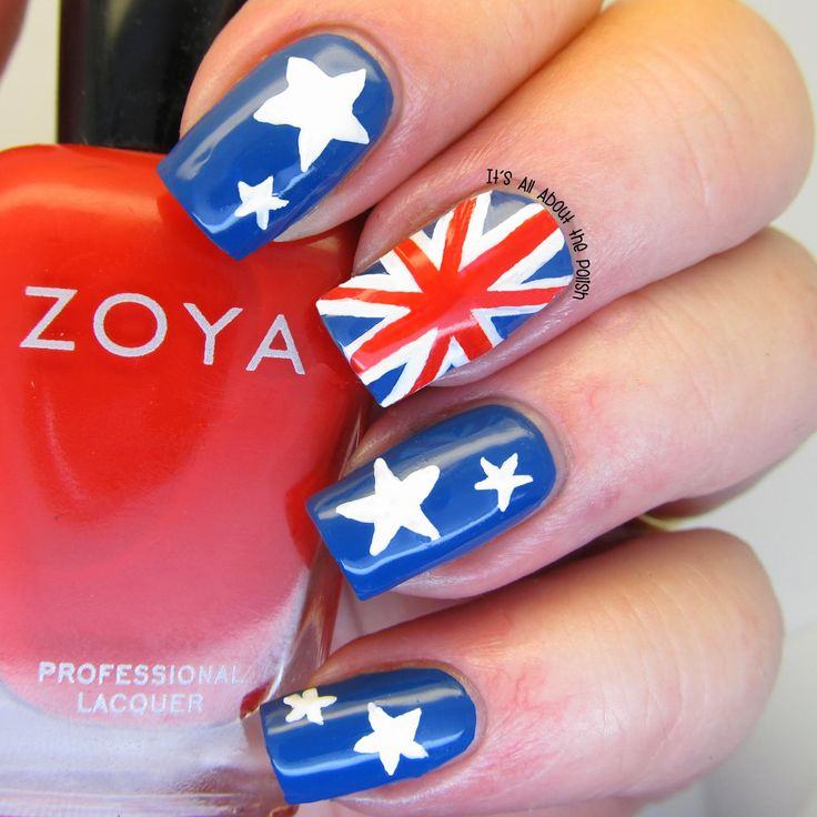 It's all about the polish: Australian Flag Nails. fancy up your nails for and australia day party