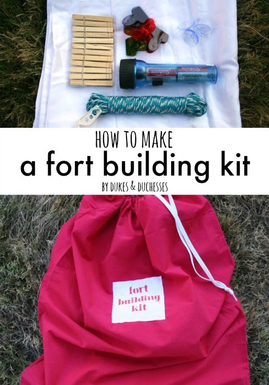 how to make a fort building kit with items from the thrift store and dollar store