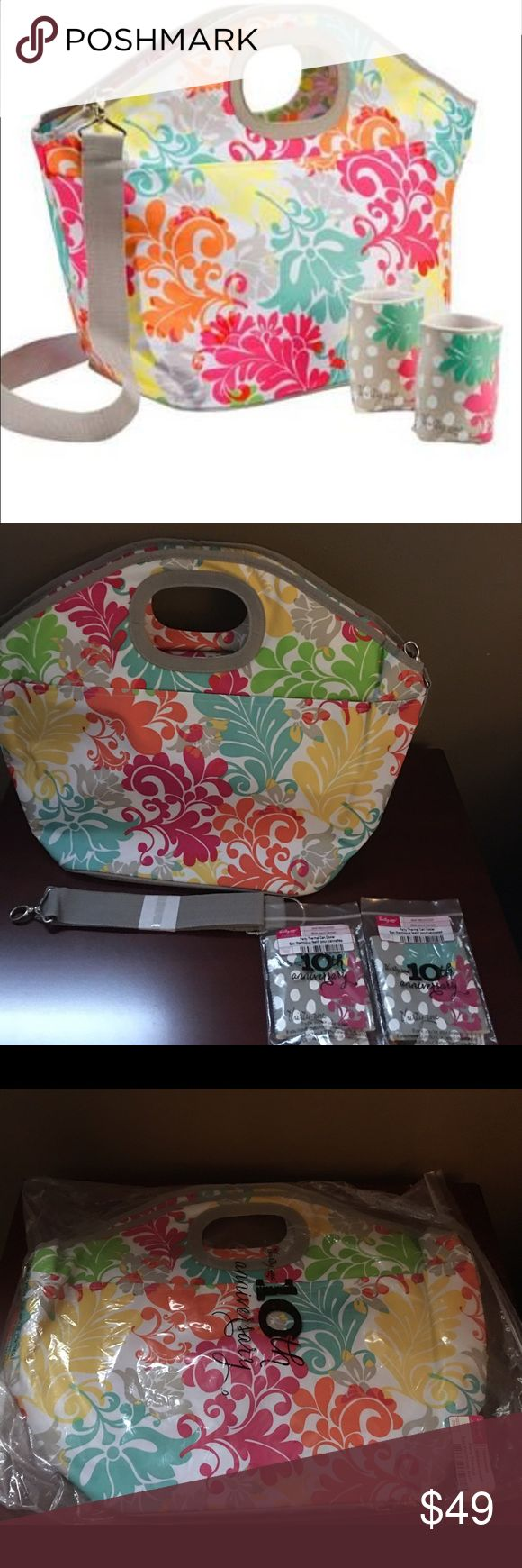 Thirty-One Party Thermal Cooler in Island Damask New in Bag Thirty-One Party Thermal Cooler in Island Damask.  This 31 retired item was a hostess exclusive and includes two 31 10th anniversary drink cozies and strap.  Large enough for your family picnics Thirty-One Bags Totes