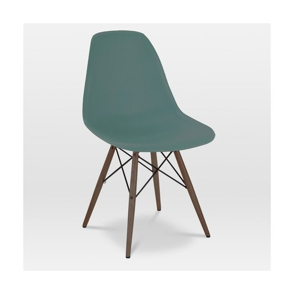 Tribe Navy Green Mid Century Side Chair with Walnut Base (Set of 2)