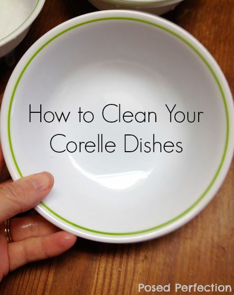 How to Clean Silverware Marks from your Corelle Corning Ware Dishes by Posed Perfection. Restore the beauty of vintage Corelle with a cleaning agent from 1882. #dishes #cleaningtip #corelle