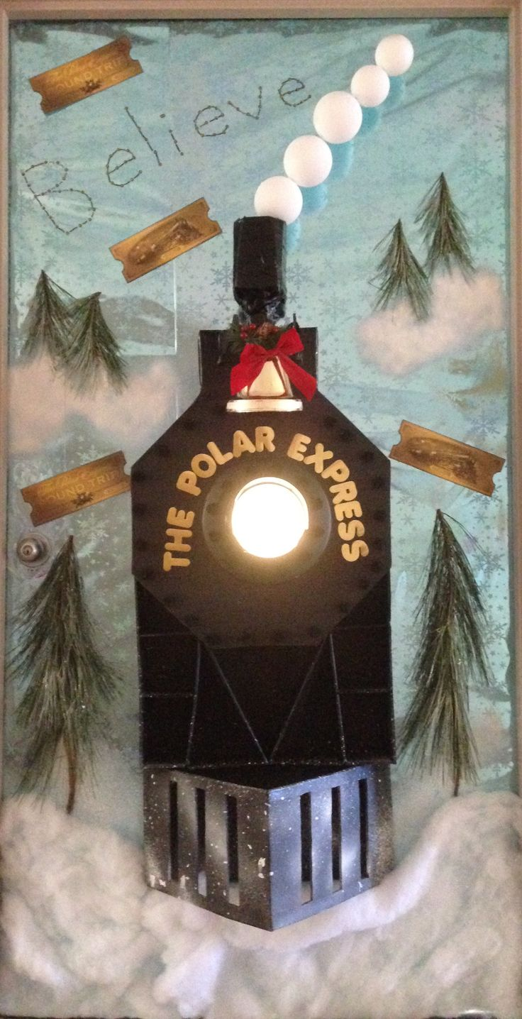 Christmas door decorations - Polar Express Decorated Door