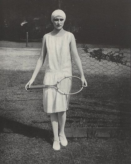 Photograph by Edward Steichen. Published in Vogue, July 15, 1927. Tennis outfit