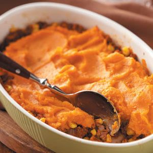 Sweet Potato Shepherd's Pie    Made it-- thought it was REALLY GOOD. Didn't save the recipe though so had to search awhile to re-find this same one.