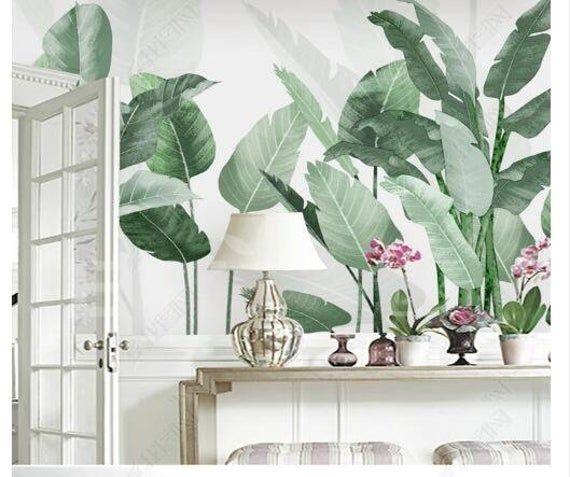 Acuarela Plantas Tropicales Fondo De Pantalla Banana Leaves Etsy Plant Wallpaper Leaf Wallpaper Mural Wallpaper