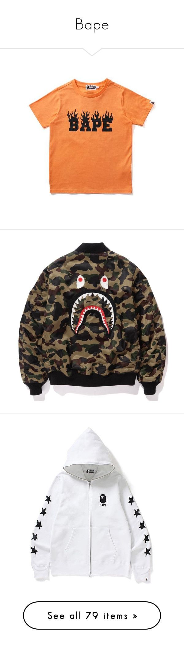 """""""Bape"""" by jadahnicole ❤ liked on Polyvore featuring tops, t-shirts, a bathing ape, red t shirt, a bathing ape t shirts, fluorescent t shirts, red top, hoodies, neon tops and neon tees"""