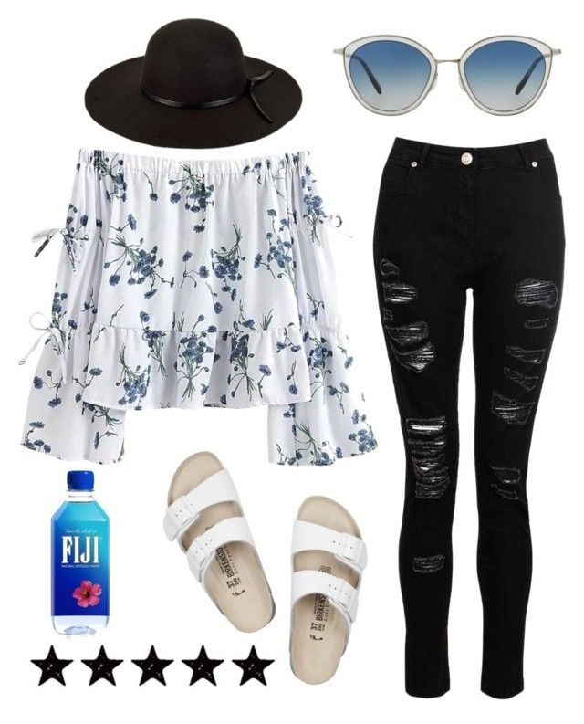 """Everything is fine when your hand's resting next to mine"" by lynley1 ❤ liked on Polyvore featuring Dorothy Perkins, Birkenstock, San Diego Hat Co., Oliver Peoples, gorgeous and offtheshoulder"