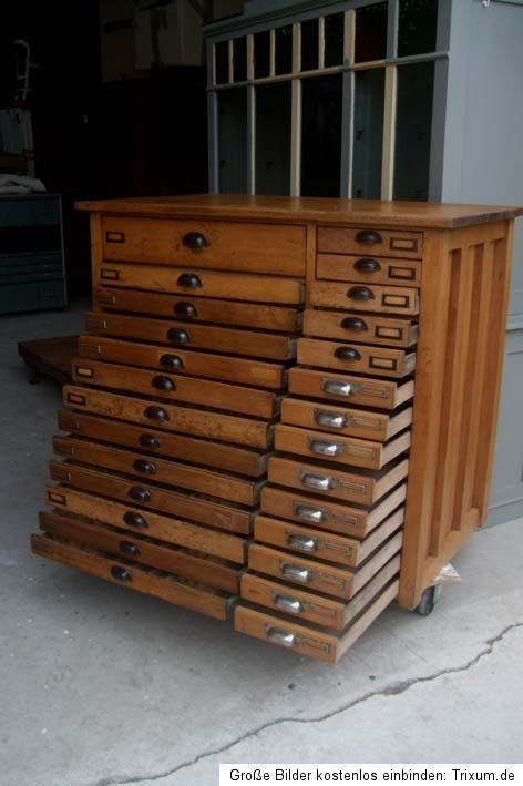 Vintage printers cabinet (1930, Art deco) Would love this for all my rubber stamps and craft supplies