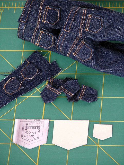 Making Pockets: cut on grain, make cardboard template of finished pocket and press seams over template. Baste in place and stitch onto pants.