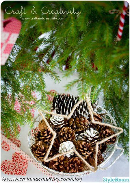 julstjärna,julpynt,julgranspynt,julgransprydnad,lin,snöre,lindad,pyssel,julpyssel