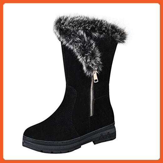 Inkach Fashion Women Shoes Flat Winter Warm Snow Boots (6.5 US, Black) - Boots for women (*Amazon Partner-Link)