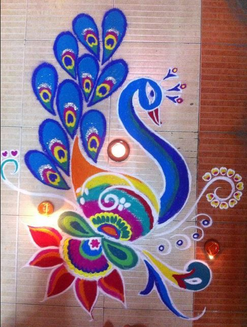 Colorful Peacock Rangoli Designs for Competition