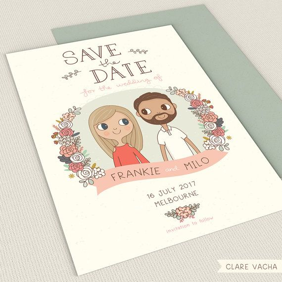 Custom Save the Date   Couple Portrait Illustration 5x7 or A5