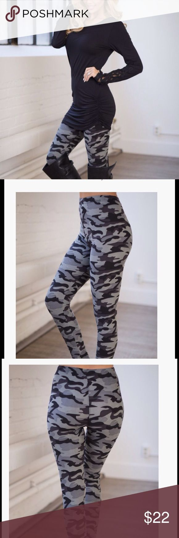 Best Camouflage Leggings You will not want yo take these fabulous leggings off. Microfiber brushed poly spandex blend super soft stretchy leggings . Great with tunics . Year round material perfect for travel. One size fits most sizes small through XL. . Please use buy now option or add to bundle to purchase . Nwot Vivacouture Pants Leggings