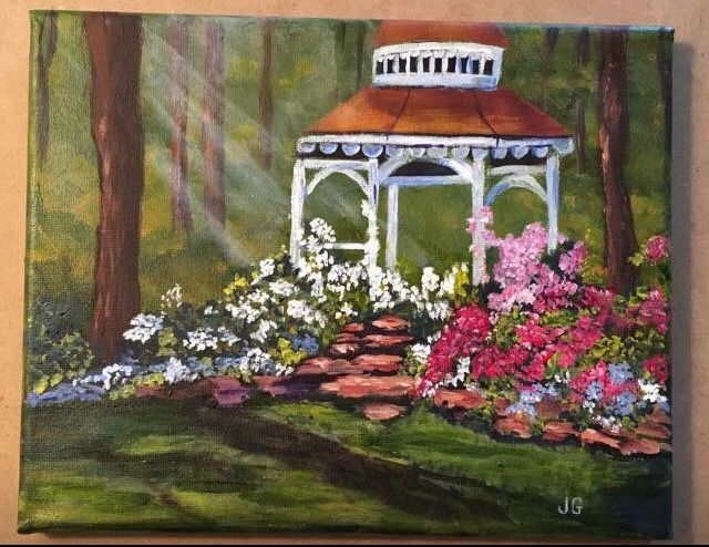 Garden Gazebo 3 cookie Academy lesson by Ginger Cook  8x10 stretched
