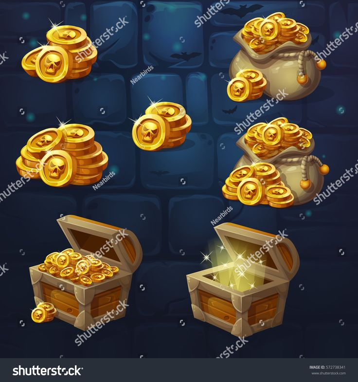 Set of wooden chests with coins for the game UI. Vector cartoon illustration of a bunch of mountains of gold coins on the background of dark brick. Full, empty chest, bag with coins.