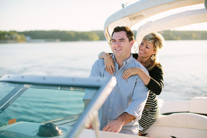 Andrew and Adria Lake of the Ozarks Boat engagement photos