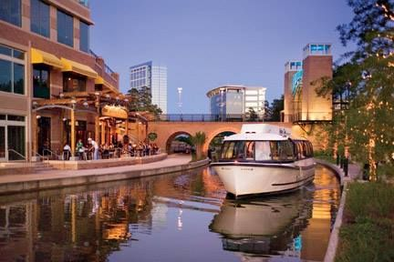 The Woodlands Waterway, a distictive and unique feature in The Woodlands, connects connects The Cynthia Woods Mitchell Pavilion, The Woodlands Marriott Hotel & Convention Center, Waterway Square and The Woodlands Mall.