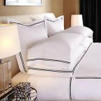 Frette black and white hotel linen pillowcases sheets