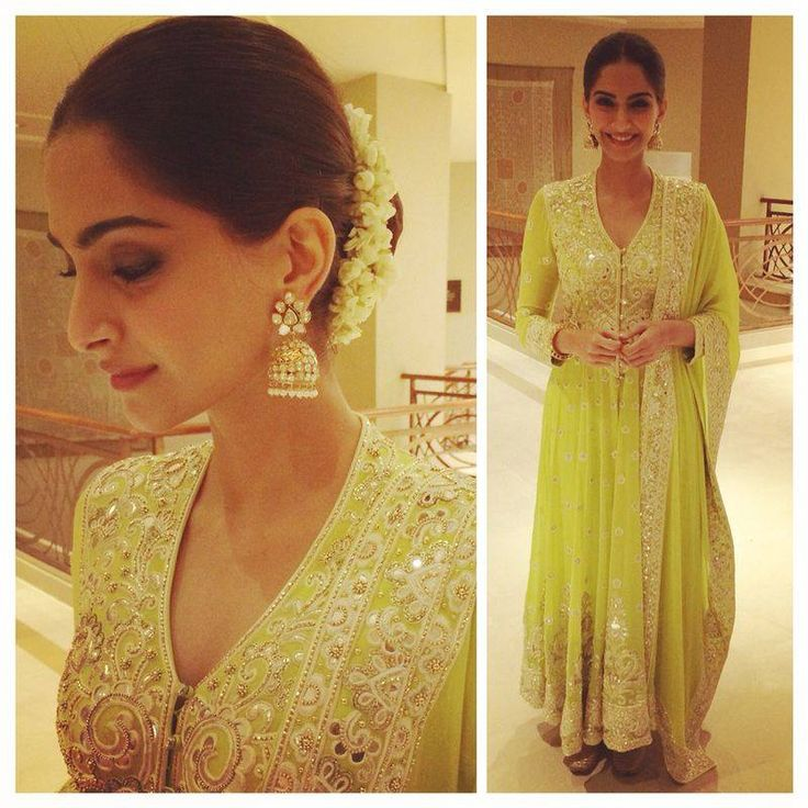 the scene in a green georgette multi panelled drop waist anarkali, featuring off white silk thread, mirror and gold Zardozi embroidery