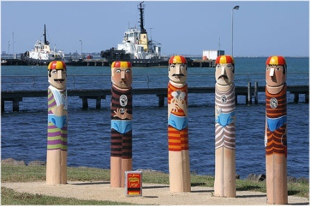 Bollards by Jan Mitchell, Geelong, Vic, Australia. Each a work of Art!