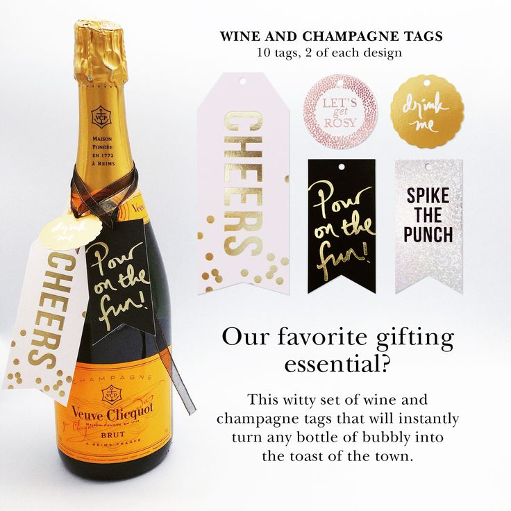 super cute drink tags to adorn your bubbly gift when giving to someone :) #drinktags #winetags