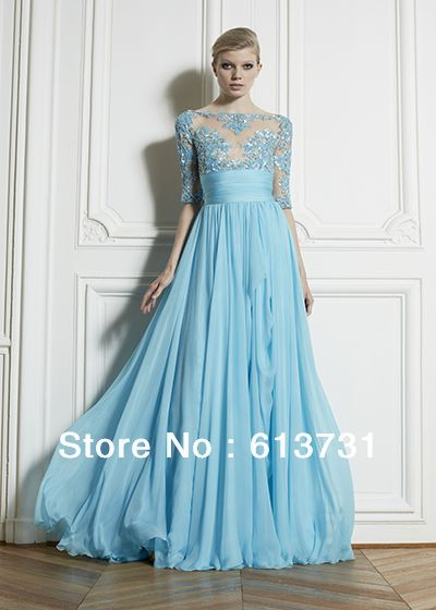 2013 Zuhair Murad Dress New Style A-line 1/2 Sleeves See-through Top Lace Chiffon Evening Dresses Blue Prom Dresses
