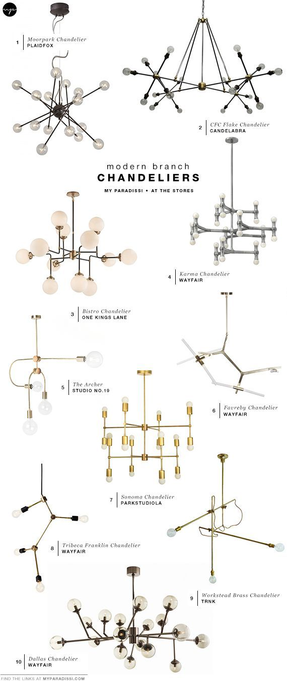 Modern branch chandeliers, modern lighting fixtures