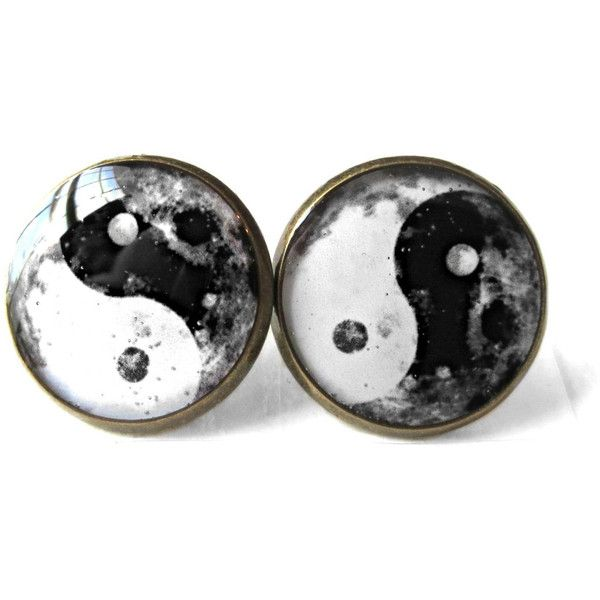 Moon Yin Yang Earrings, Pastel Goth Soft Grunge Boho Jewelry, Boho... ($10) ❤ liked on Polyvore featuring jewelry, earrings, gothic jewelry, gothic earrings, earring jewelry, boho chic jewelry and bohemian style jewelry