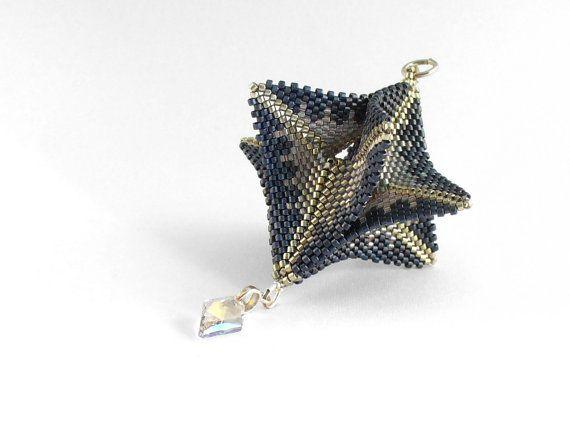 Ornamenti di perline, perline 3D, appeso decorazione, decorazione geometrica, Silver Decor blu, a forma di perline, Bagattella Beadwoven - Made in Germany