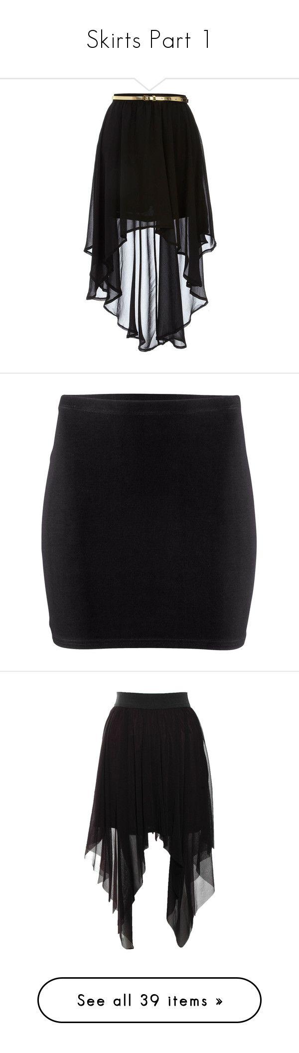"""Skirts Part 1"" by lorene-love ❤ liked on Polyvore featuring skirts, mini skirts, bottoms, saias, faldas, black, hi low skirt, asymmetrical skirt, high waisted asymmetrical skirt and high rise skirts"