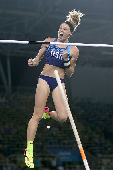 Sandi Morris of the United States reacts during the Women's Pole Vault Final on…
