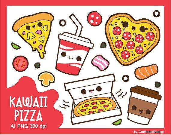 Kawaii Pizza Clipart Kawaii Clipart Cute Pizza Clipart Etsy In 2021 Kawaii Clipart Iphone Art Cute Pizza