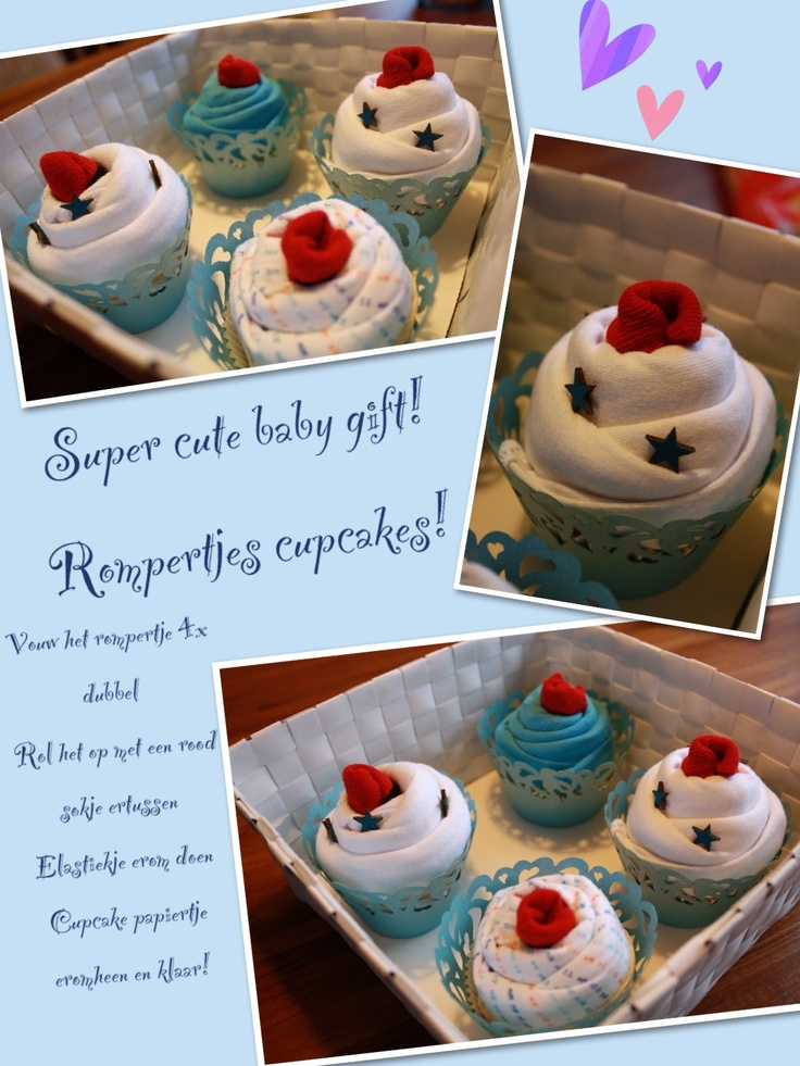 Super cute baby gift! Baby cupcake  Opgerold rompertje! Super leuk baby kado!
