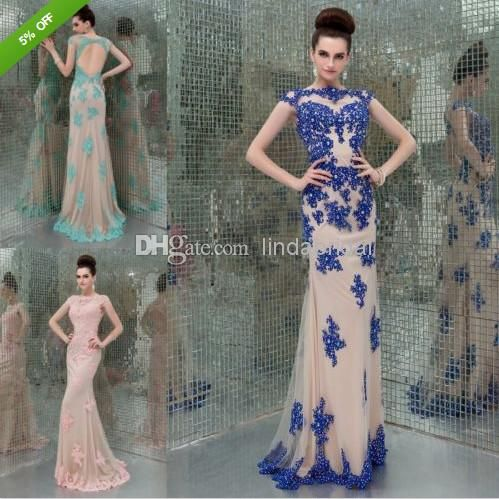 Wholesale Evening Dresses - Buy 2014 Evening Dress Stock Blue Black RED Purple Orange Pink Lace Chiffon Special Occasion Dresses Boat-neck Long Long Formal Dresses E13236, $149.9 | DHgate