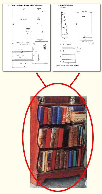 Plans for DIY miniature bookcase for dollhouse library