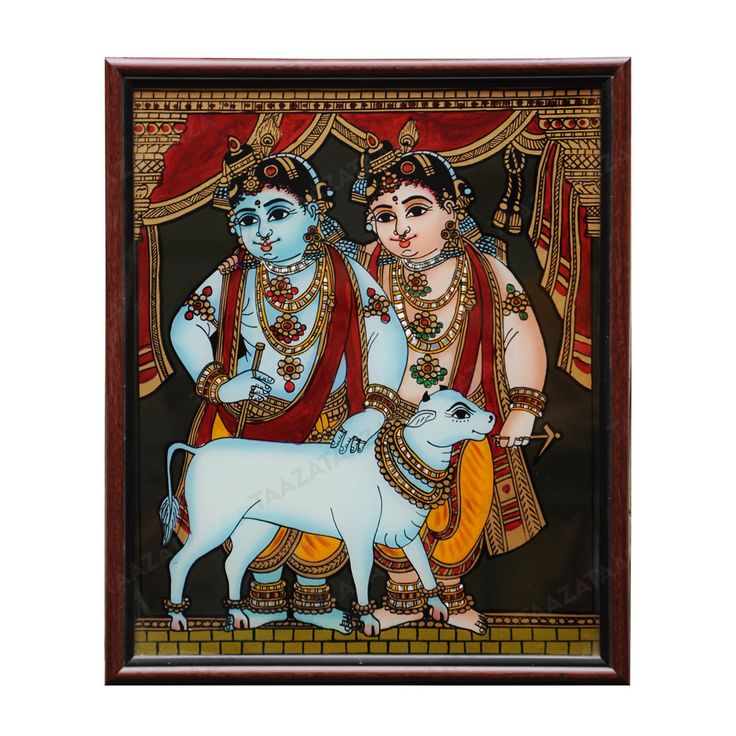 Balarama Krishna | Glass Painting |  Material: Glass Other Material: Glass colors, Gold powder Dimensions( LxW): 11×13 Inches Package Contents: 1 Balarama Krishna Painting