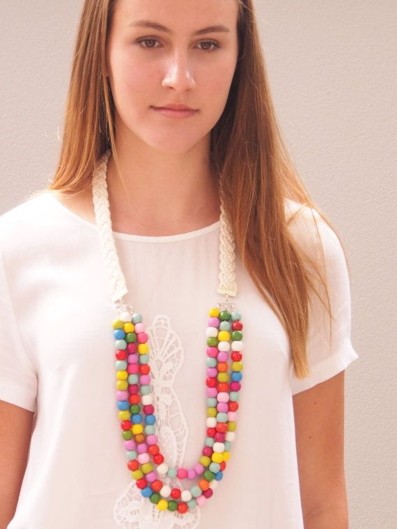 Multicolour wooden bead necklace with cream rope braid on Etsy, $40.00 AUD