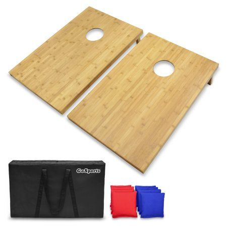 GoSports 3' x 2' Bamboo Cornhole Set with 8 Bean Bags ; Carrying Case - Premium All Weather Design