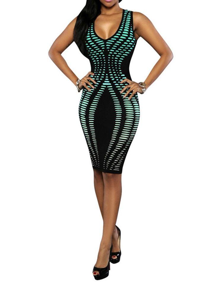 Womens V Neck Tie Dye Stripe Print Sundress Tight Club Party Dress