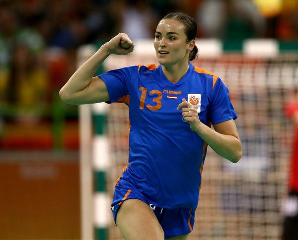 Yvette Broch Photos Photos - Yvette Broch #13 of Netherlands celebrates her goal in the first half against Russia on Day 9 of the Rio 2016 Olympic Games at the Future Arena on August 14, 2016 in Rio de Janeiro, Brazil. - Handball - Olympics: Day 9