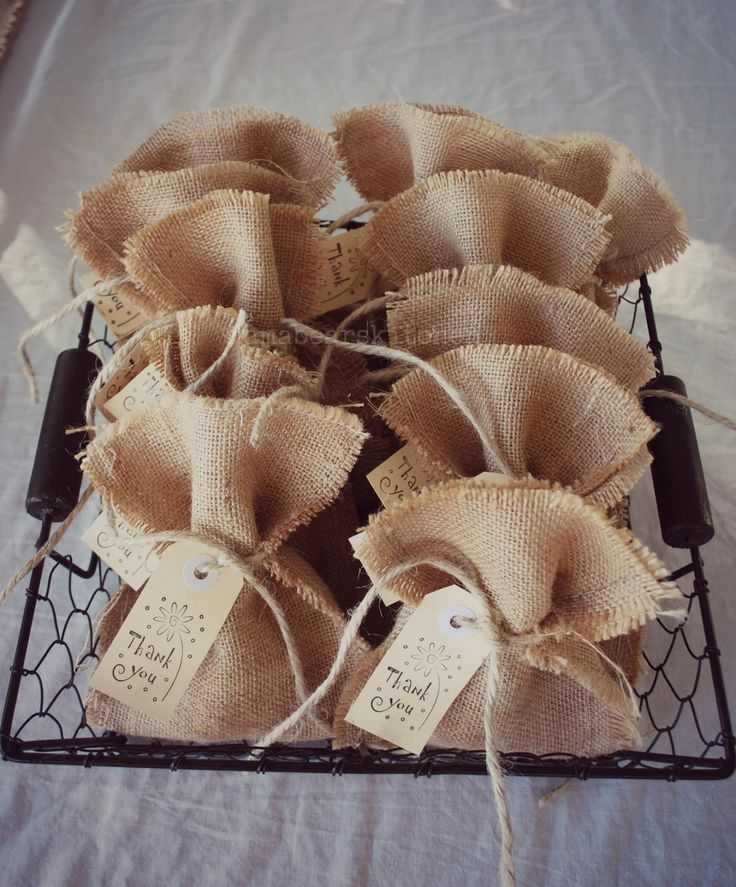 burlap favor bags. But what to put in them.