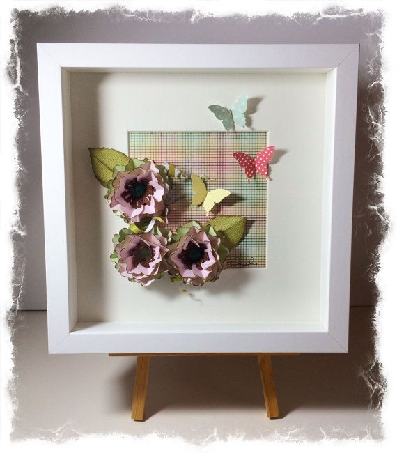 shadow box frame with flowers by on etsy